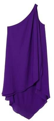 MANGO Asymmetric neckline dress