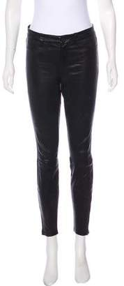 L'Agence Mid-Rise Leather Skinny Pants