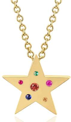 Ef Collection 14K Yellow Gold Round-Cute Multi-Stone Mini Star Shape Pendant Necklace