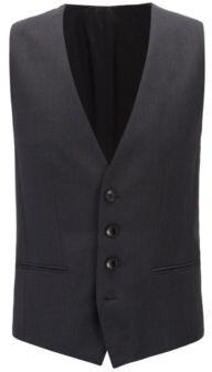 BOSS Hugo Wool Waistcoat, Slim Fit Wilson CYL 40R Dark Grey