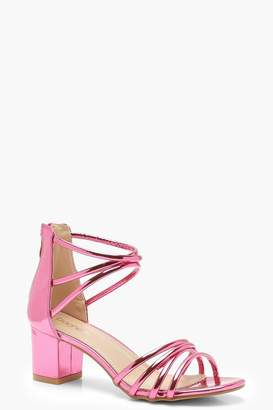 boohoo Jessica Metallic Strappy Low Block Heels