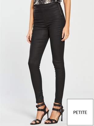 Very Short Charley High Waisted Super Skinny Coated Jegging - Black Coated