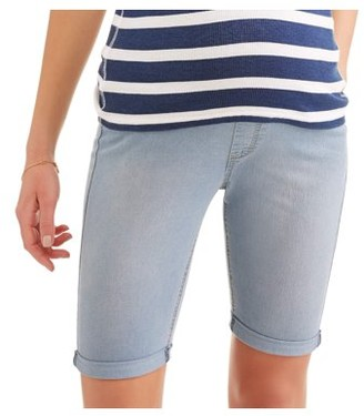 89584482341 Oh! Mamma Maternity Roll Cuff Overbelly Bermuda Denim Shorts - Available in Plus  Sizes