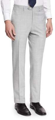 Kiton Solid Flat-Front Wool Trousers, Gray