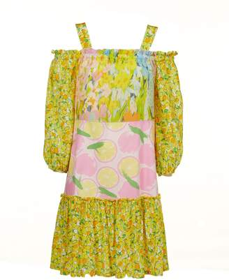 patterned ruffle detail cold shoulder dress - Yellow & Orange Moschino Clearance Best Prices Ub9i8XK