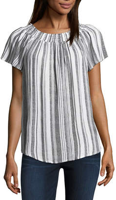 Liz Claiborne Short Sleeve Smocked Neck Top