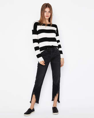 Express Striped Crew Neck Pullover Sweater