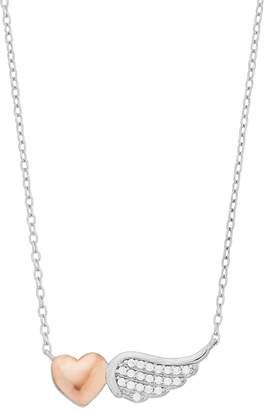 Close At Heart Close at Heart Two Tone Sterling Silver Cubic Zirconia Heart & Wing Necklace