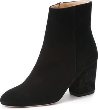 Fabio Rusconi (ファビオ ルスコーニ) - Import Shoes Collection FABIO RUSCONI スエード 刺しゅうヒール ショートブーツ ブラック 24.5
