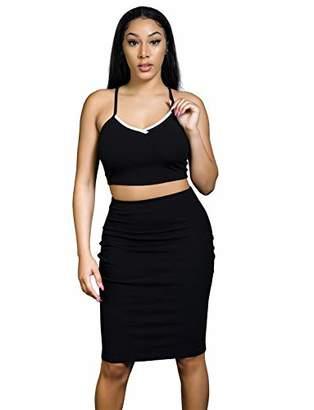 MEALIYA Sleeveless Bodycon Dress Sexy Two Piece Skirt Set Dresses for Women