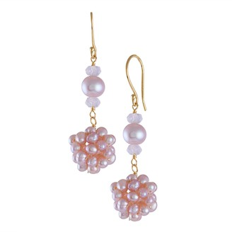 14k Gold Pink Freshwater Cultured Pearl Cluster Drop Earrings