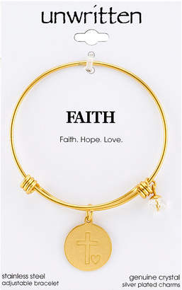 "Unwritten Yellow Gold Tone ""Faith Hope Love"" Charm Bangle Bracelet, 8"" Length, 2.25"" Diameter"
