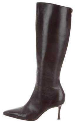 Manolo Blahnik Leather Pointed-Toe Boots Brown Leather Pointed-Toe Boots