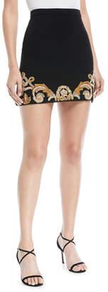 Versace Embellished Hem Crepe Mini Skirt