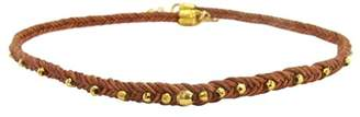 Chan Luu Choker Necklace in Gold Vermeil Nuggets Braided Leather