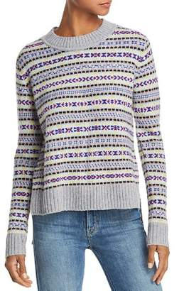 Aqua Fair Isle High/Low Cashmere Sweater - 100% Exclusive