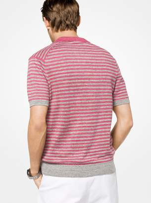 Michael Kors Striped Linen Polo Shirt