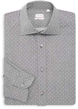 Luciano Barbera Regular-Fit Polka Dot Cotton Dress Shirt