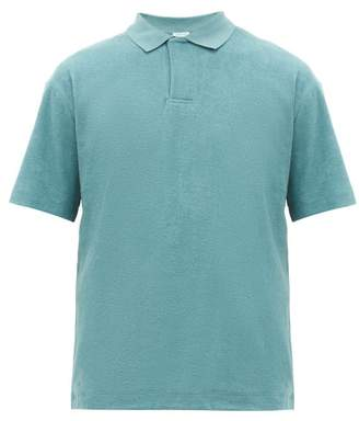 Sunspel Riviera Cotton Terry Polo Shirt - Mens - Blue