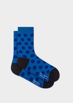 Paul Smith Mens Slate Blue Polka Dot Cycling Socks