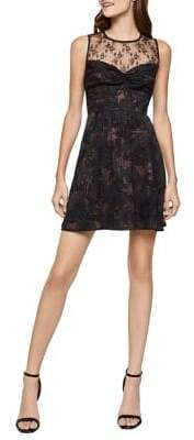 BCBGeneration Twist Front Mixed-Media Floral Dress