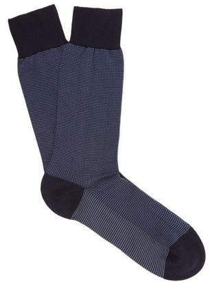 Pantherella Tewksbury Cotton Blend Socks - Mens - Navy