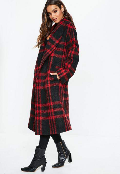 Red Check Shawl Collar Coat, Red