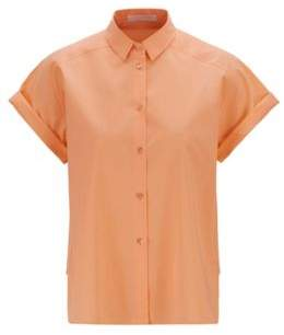BOSS Relaxed-fit blouse in soft stretch cotton