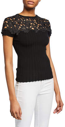 Bailey 44 Souffle Short-Sleeve Sweater with Embroidered Yoke