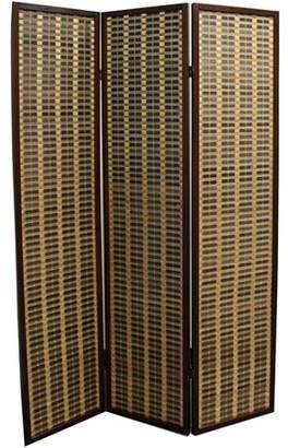 """Ore International 70.25"""" Bamboo 3-Panel Room Divider, Dark Walnut"""