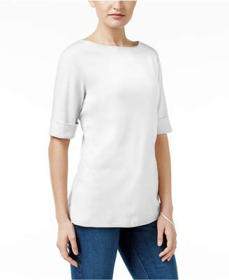 Karen Scott Elbow-Sleeve Boat-Neck Top, Created for Macy's $29.50 thestylecure.com