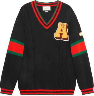 Gucci Cable knit sweater with patches