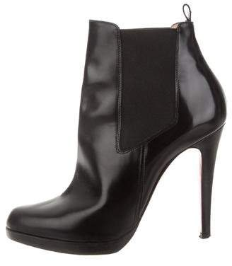 Christian Louboutin Leather Pointed-Toe Ankle Boots
