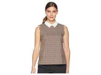 CeCe Sleeveless Scalloped Feminine Glen Plaid Blouse Women's Blouse