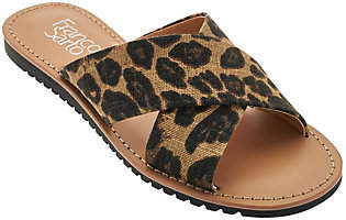 Franco Sarto Printed Cross Strap Slide Sandals- Quentin