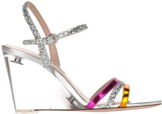 Miu Miu Glitter Wedge Sandals