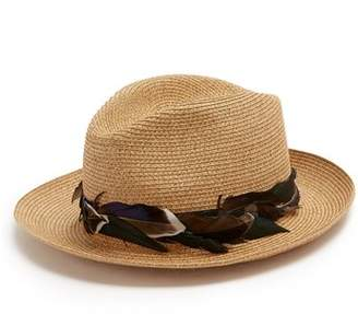BEIGE Filù Hats Filu Hats - Sinatra Feather Trimmed Straw Hat - Womens