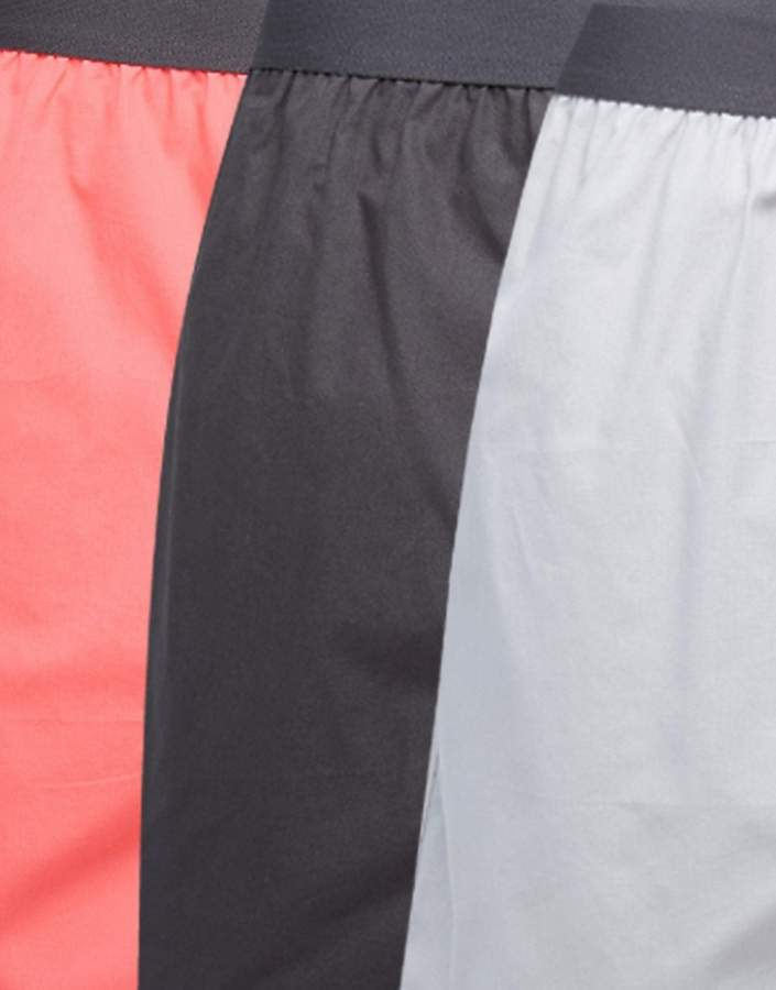 Asos Tall Jersey Boxers In Black & Grey & Pink 3 Pack