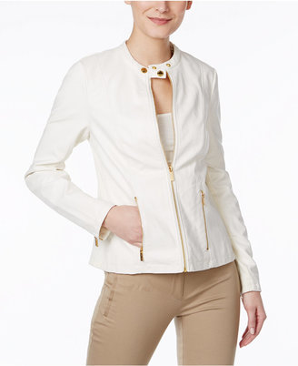 Calvin Klein Faux-Leather Moto Jacket $129.50 thestylecure.com