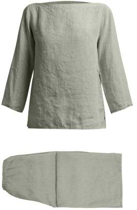 Once Milano - Raw Edge Linen Pyjamas - Womens - Green