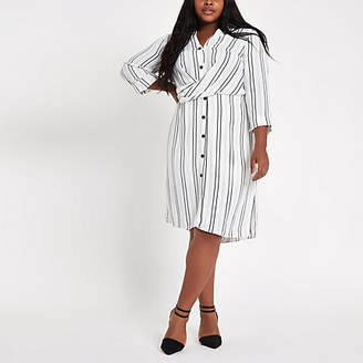 River Island Plus white stripe twist front shirt dress