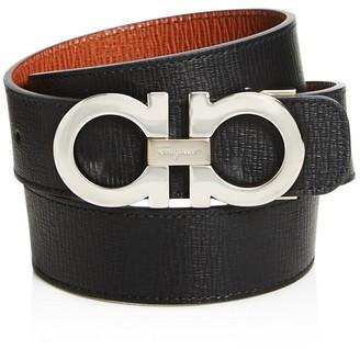 Salvatore Ferragamo Rhodium with Stamped Calf Reversible Belt $360 thestylecure.com
