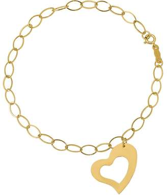 14K Oval Link with Heart Dangle Bracelet, 1.0g