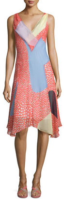 Diane von Furstenberg Dita Sleeveless Silk Patchwork Dress $398 thestylecure.com