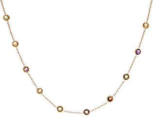 "Italian Gold 16"" Gemstone Station Necklace,14K Gold 1.2g"