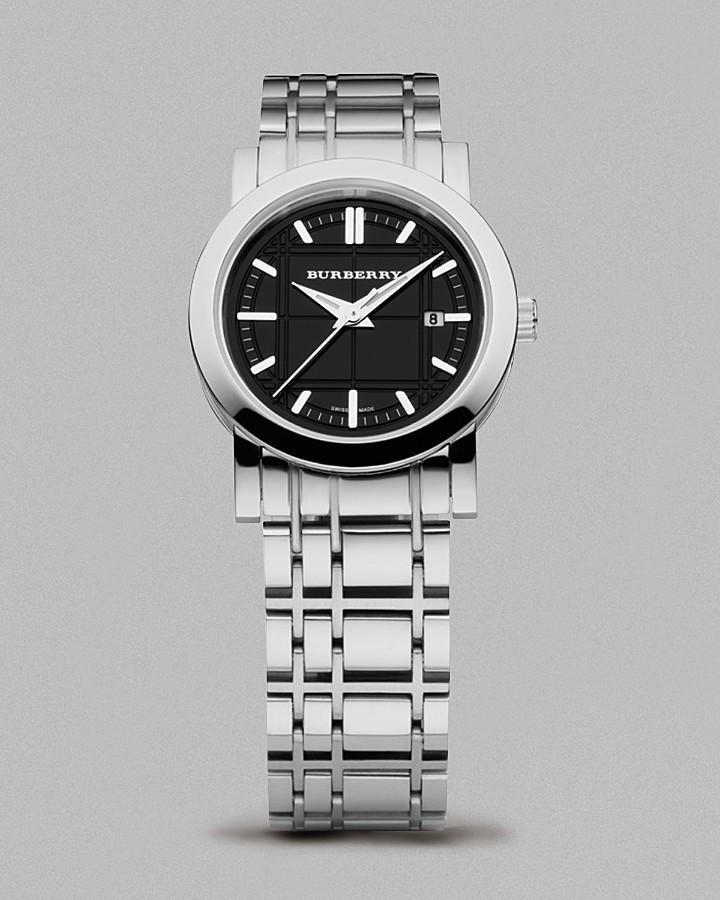 Burberry Women's Black Dial Check Bracelet Watch