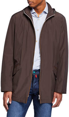 Kiton Men's Packable Rain Coat with Hood