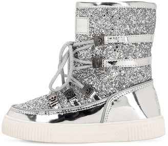 Chiara Ferragni GLITTERED & FAUX PATENT LEATHER SNOWBOOT