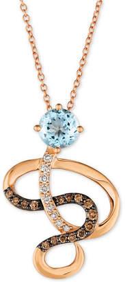 "LeVian Le Vian Sea Blue Aquamarine (5/8 ct. t.w.) & Diamond (1/4 ct. t.w.) Swirl 18"" Pendant Necklace in 14k Rose Gold"