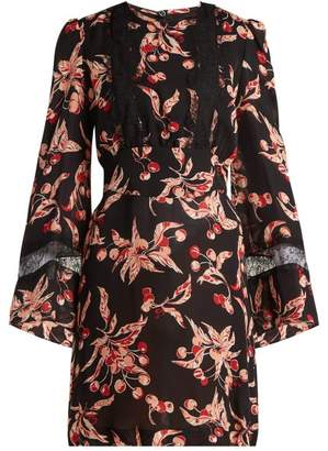 Dundas - Cherry Print Silk Georgette Mini Dress - Womens - Black Pink
